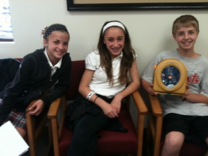 Kids at St. John's with their new AED